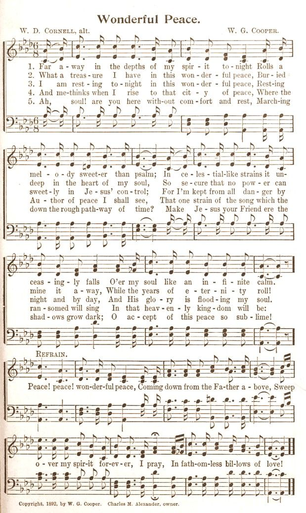 Lyric count your blessings hymn lyrics : My favorite Hymn: Wonderful Peace missing my singing buddy for ...