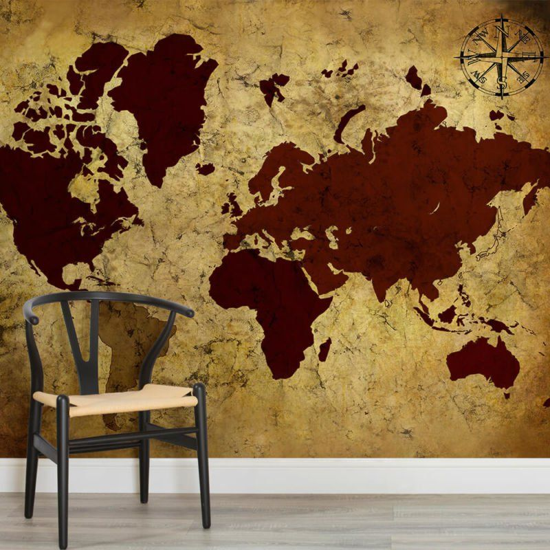 Neutral shades world map wallpaper mural neutral shades world map wallpaper mural murals wallpaper gumiabroncs Gallery