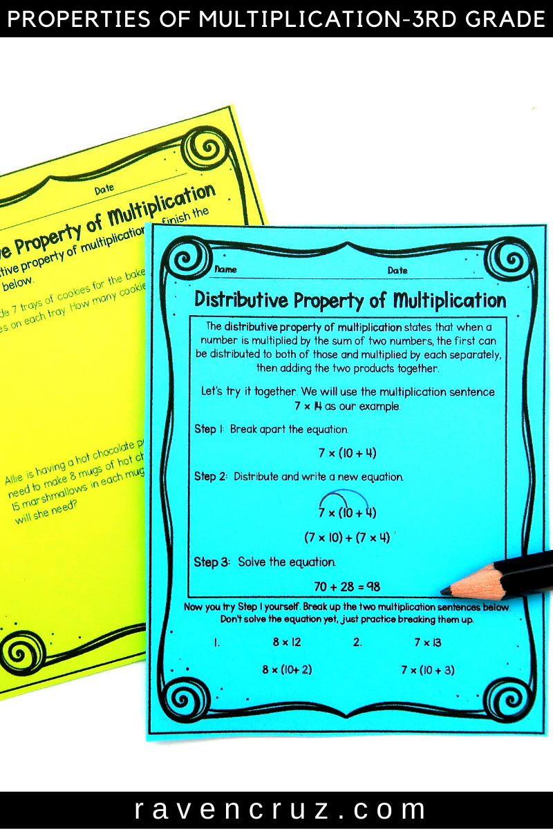 Properties of Multiplication Worksheets 3rd Grade Bundle   Distributive  property of multiplication [ 1200 x 800 Pixel ]