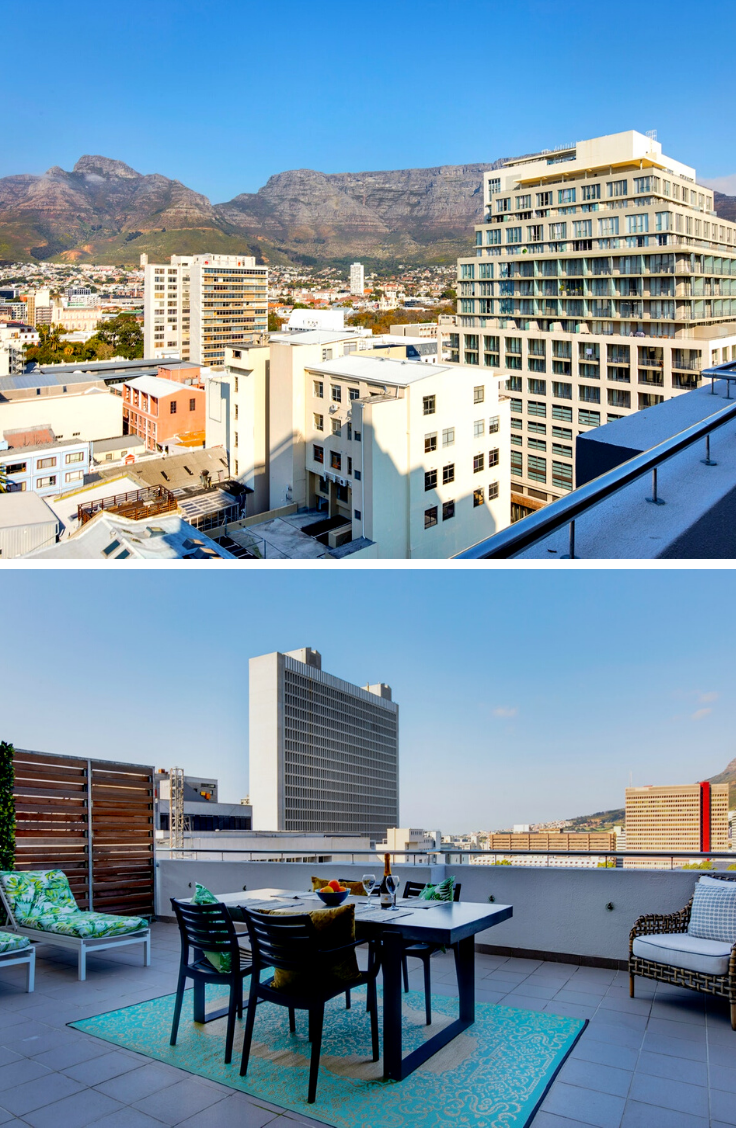Table Mountain Apartment 1108 offers unbelievable views of the Mother City's CBD and Table Mountain, You can enjoy your breakfast or sundowners on this lovely rooftop!  #rooftop #TableMountain #southafrica #capetown #citystays #inthecity #citylife #apartment #skyscrapers #mothercity