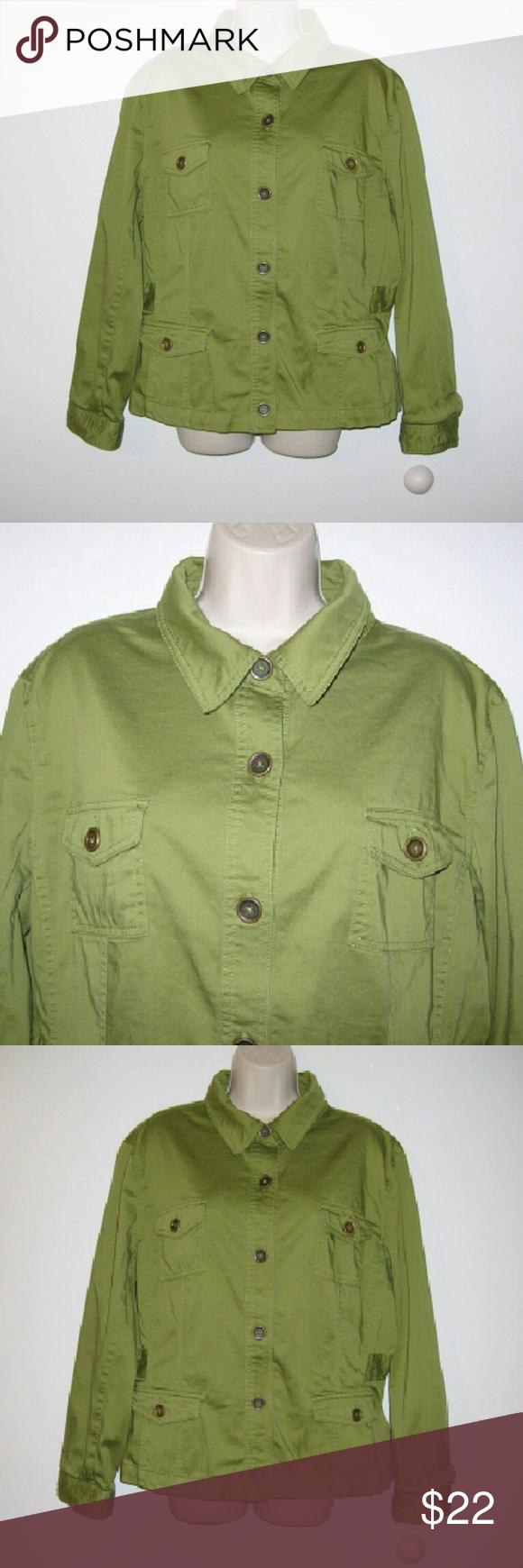 "Jones NY safari army jacket XXL...t The jacket has a bit of stretch It is a dark olive green Bust 50"", long 24"" Shoulder to shoulder 19"" Sleeve 24"" Jones New York Jackets & Coats"