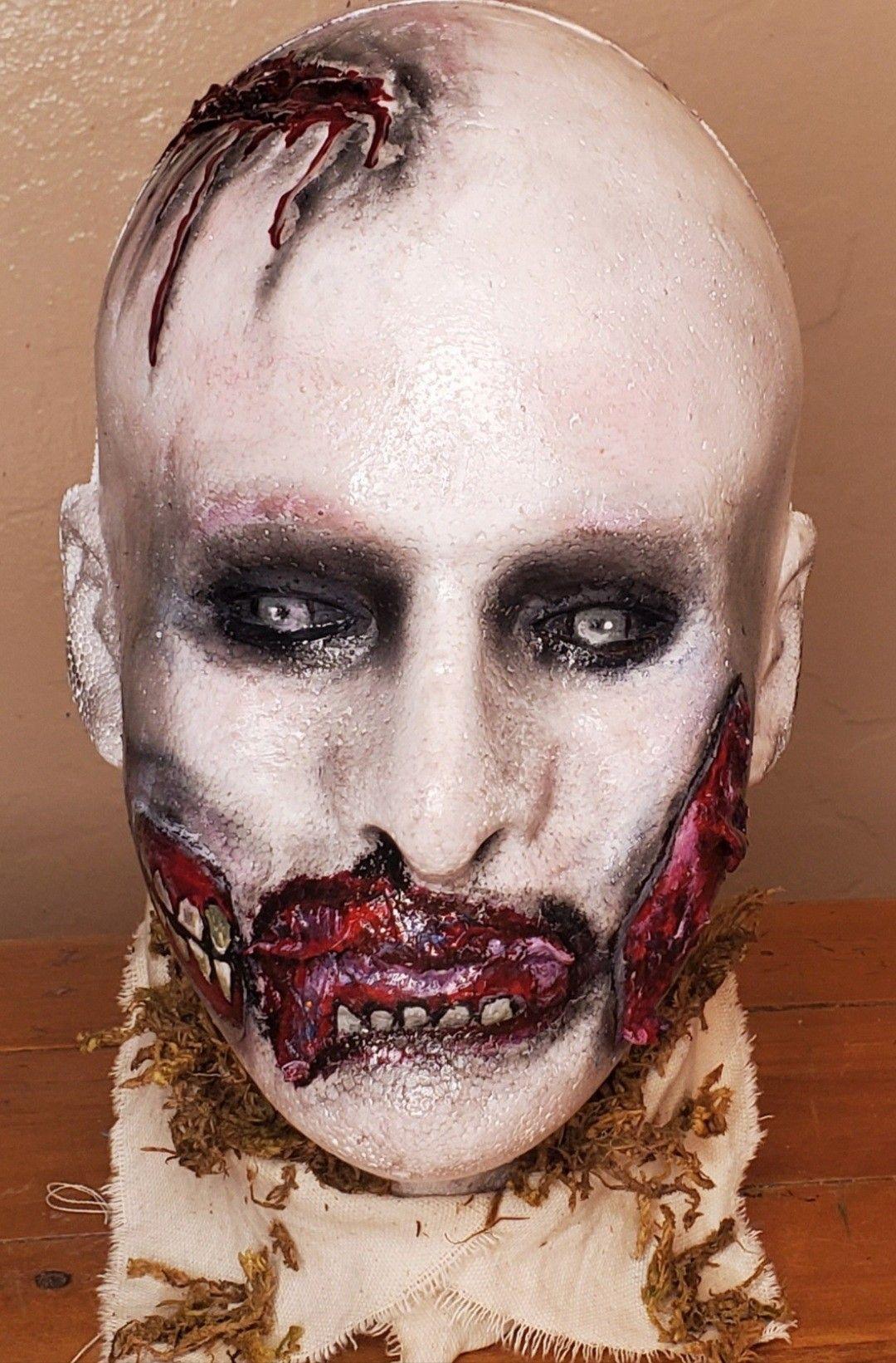 Halloween 2020 Es Feriado Zombie, painted mannequin head, zombie makeup, Halloween Decor
