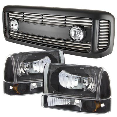 Ford Excursion 2000 2004 Black Grille With Fog Lights And Headlights Set Ford Excursion 2000 Ford Excursion Excursions