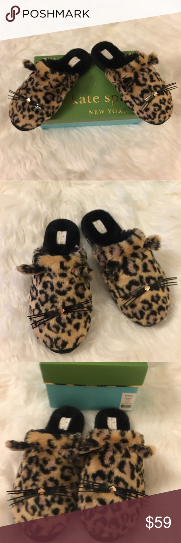 e4c5a2c7746b NWBOX Kate Spade Belindy Cat Faux Fur Slippers 10 New With Tags and Box -  Kate