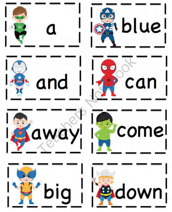 Superhero Classroom Decor Printables : Preschool printables superhero dolch pre primer sight