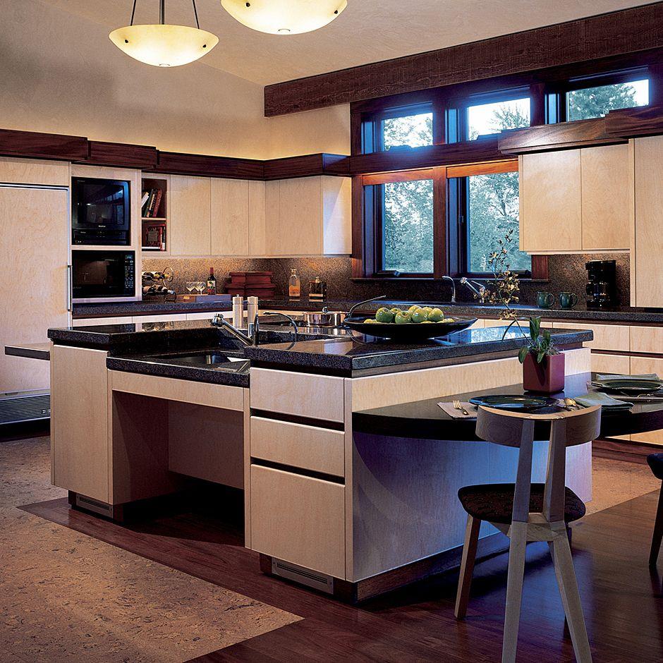 Mid-century modern/universal design kitchen.