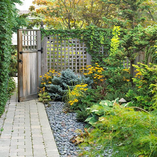 Small-Space Landscaping Ideas | Black rock, Yards and Patios