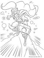 Thor Dengan Gambar Buku Mewarnai Halaman Mewarnai Thor