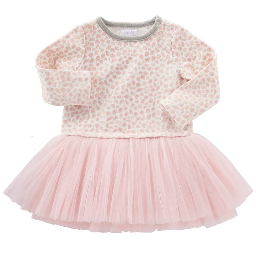 Long sleeve pink and gold leopard French terry sweatshirt dress features contrast neckline binding and attached pink mesh tutu skirt.