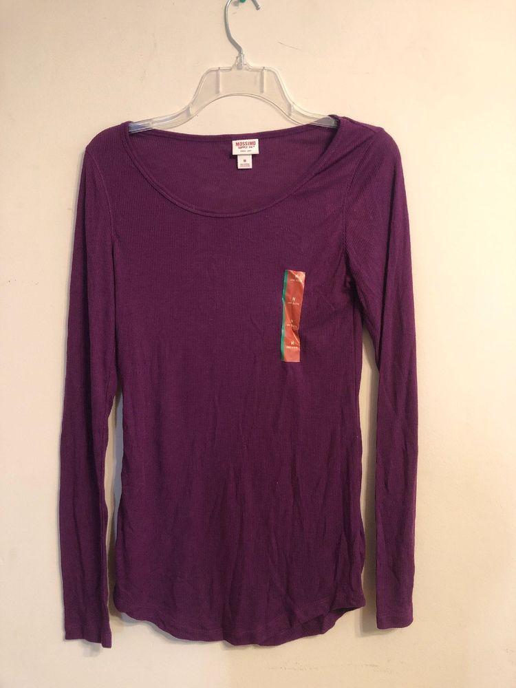 293d07343 Mossimo Supply Co. Women's Long Sleeve Rib T-Shirt - Purple - Size M  #fashion #clothing #shoes #accessories #womensclothing #tops (ebay link)