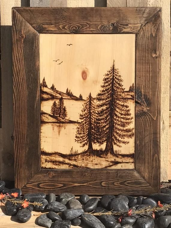 Handmade Tree Nature Scene Wood Burning Art