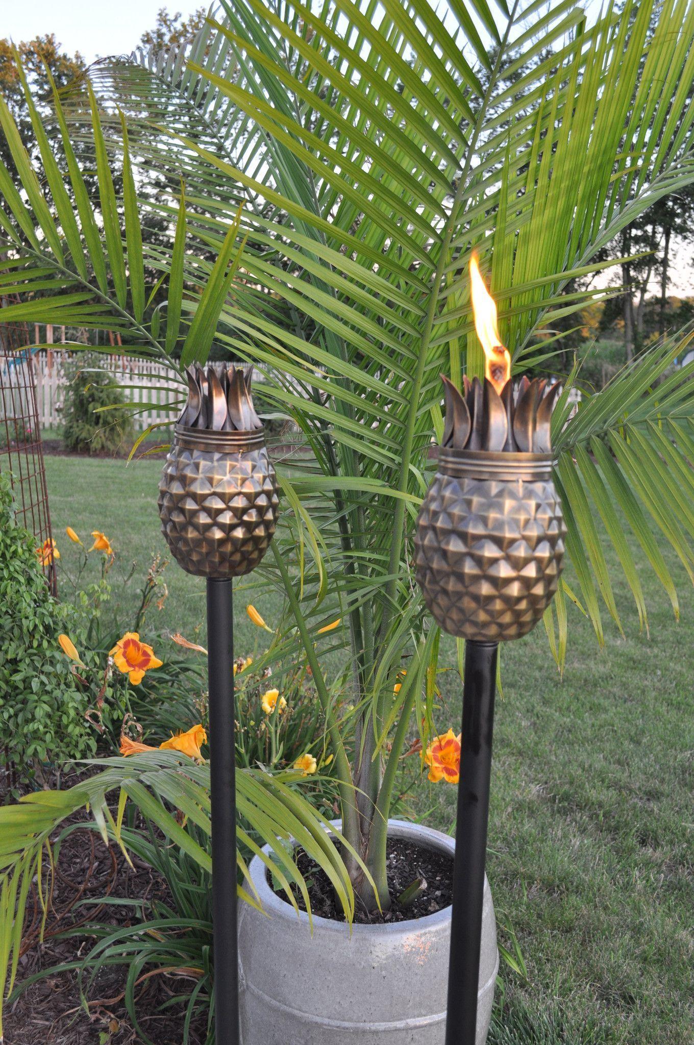 Set of (2) Pineapple Antique Finish Tiki Torch | Tiki torches ...