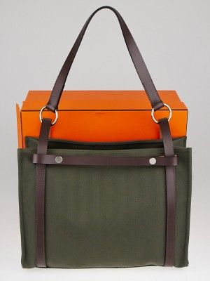 65e959bb0 Hermes Green Canvas and Ebene Vache Hunter Leather Cabalicol Tote Bag