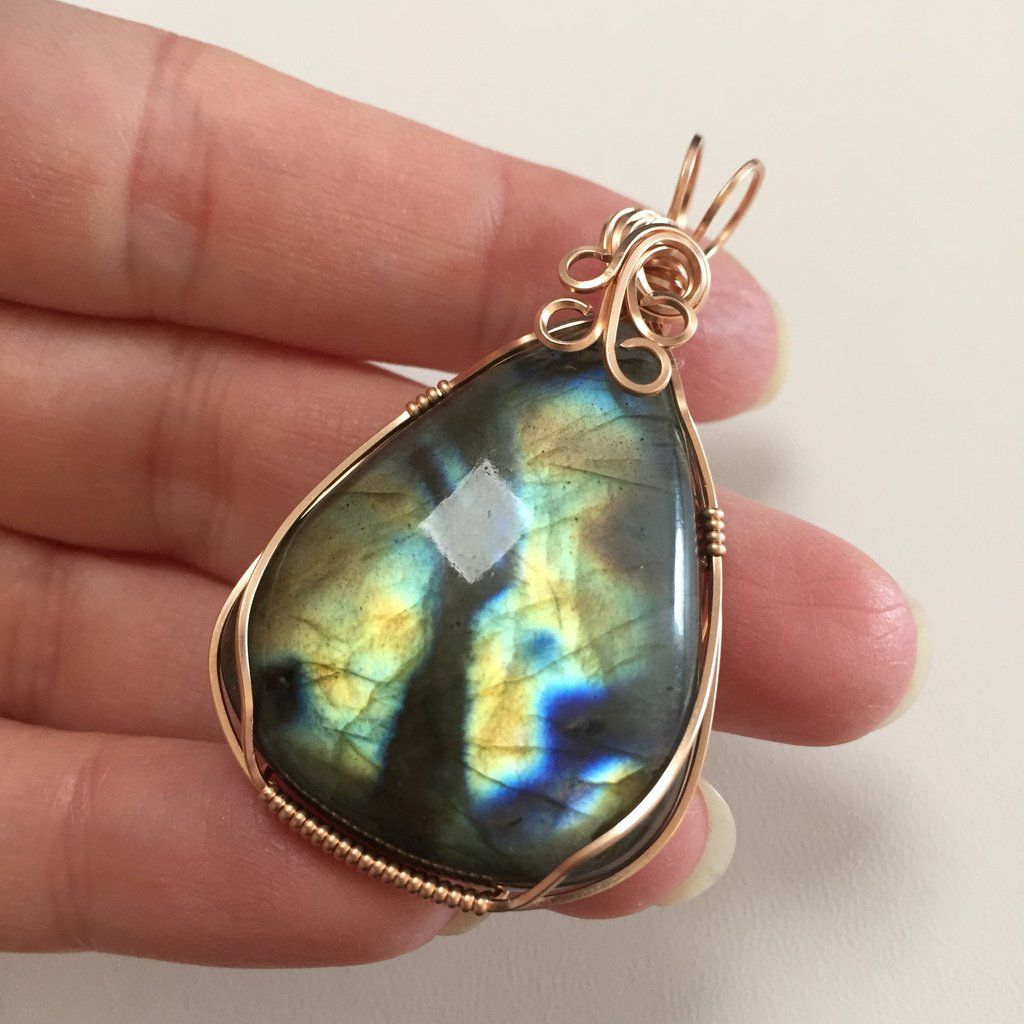 Labradorite 14K Rose Gold Filled Wire Wrapped Pendant   Wire wrapped pendant, Wrapped pendant ...