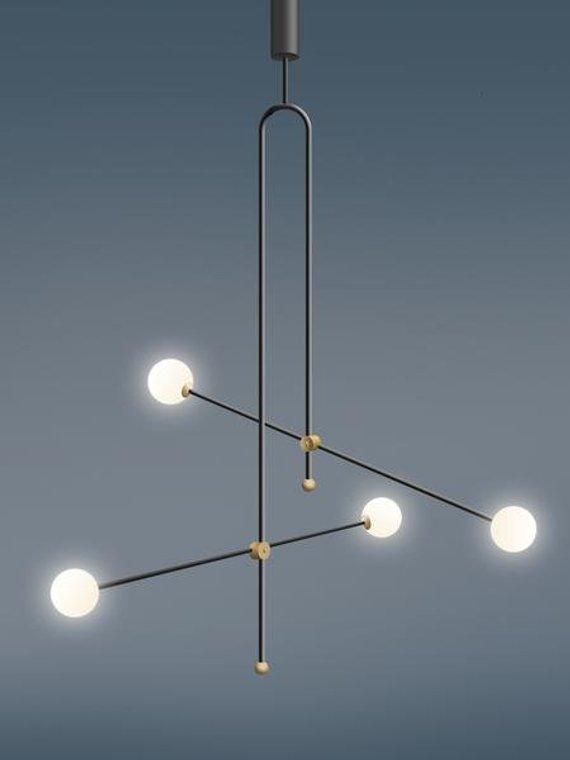 Geometric Beads Lamp Unique Pendant Lamp Minimalist Lamp Gold