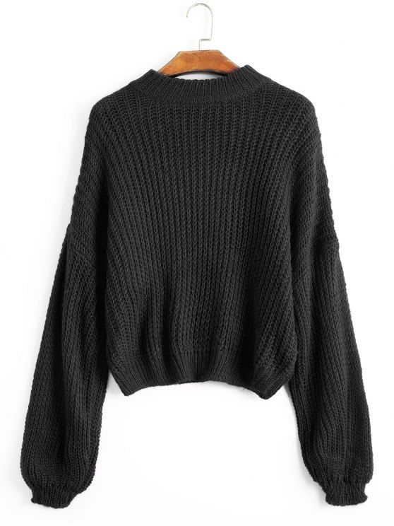 Up to 70% OFF! Lantern Sleeve Mock Neck Chunky Sweater. Zaful 4c3c0d22a