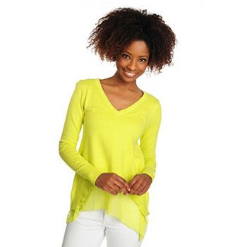 Kate & Mallory Mixed Media Long Sleeved Hi-Lo Hem V-Neck Sweater, love the color, such a great basic T!