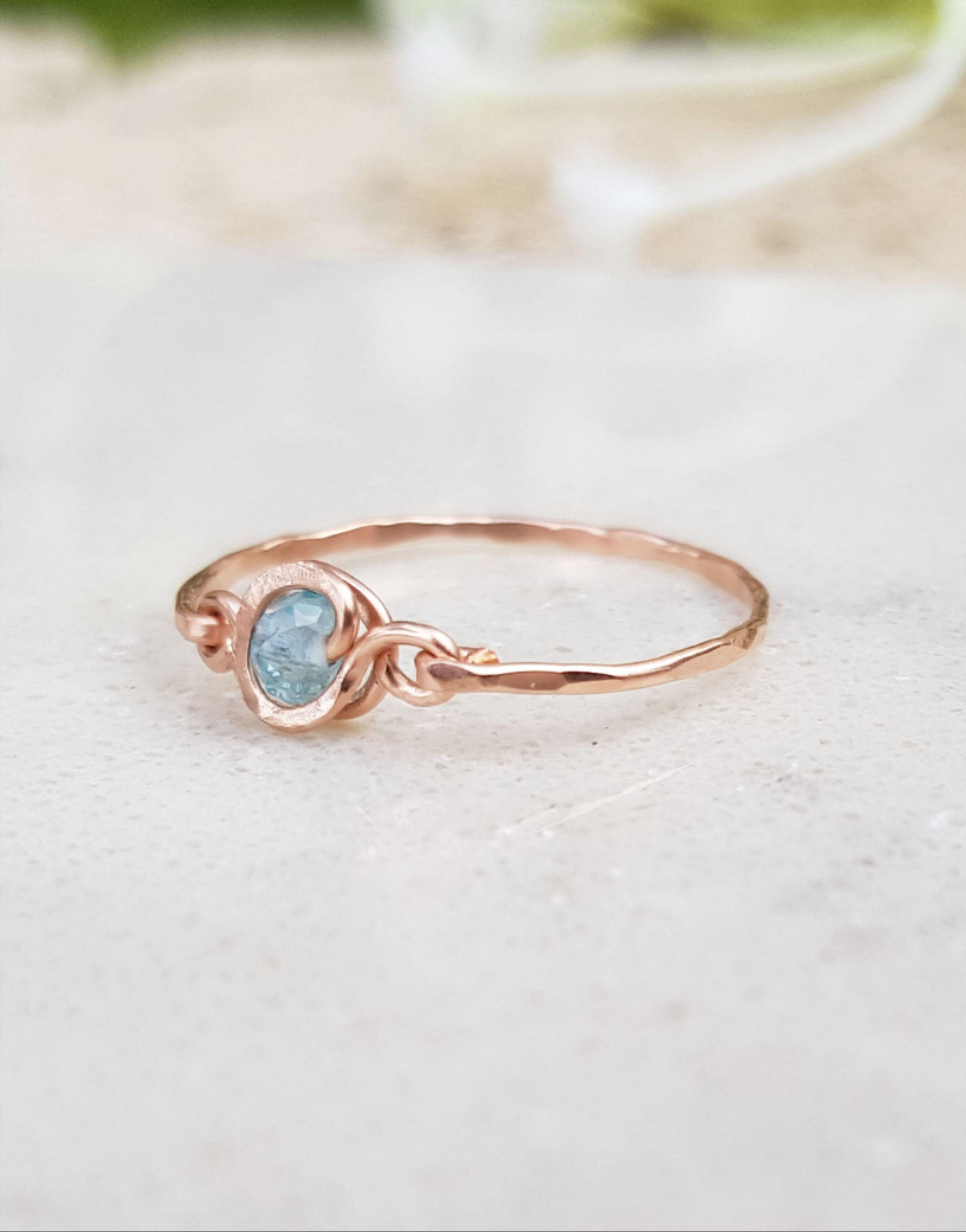 Drop Opal and Diamond Rose Gold 14K Handmade Minimal Ring