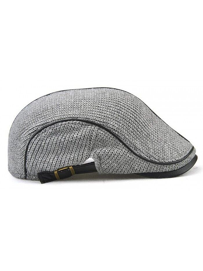 b2f6fc447a532 Men s newsboy duckbill IVY Flat Cap Scally Warm Knitted Hat - Grey ...