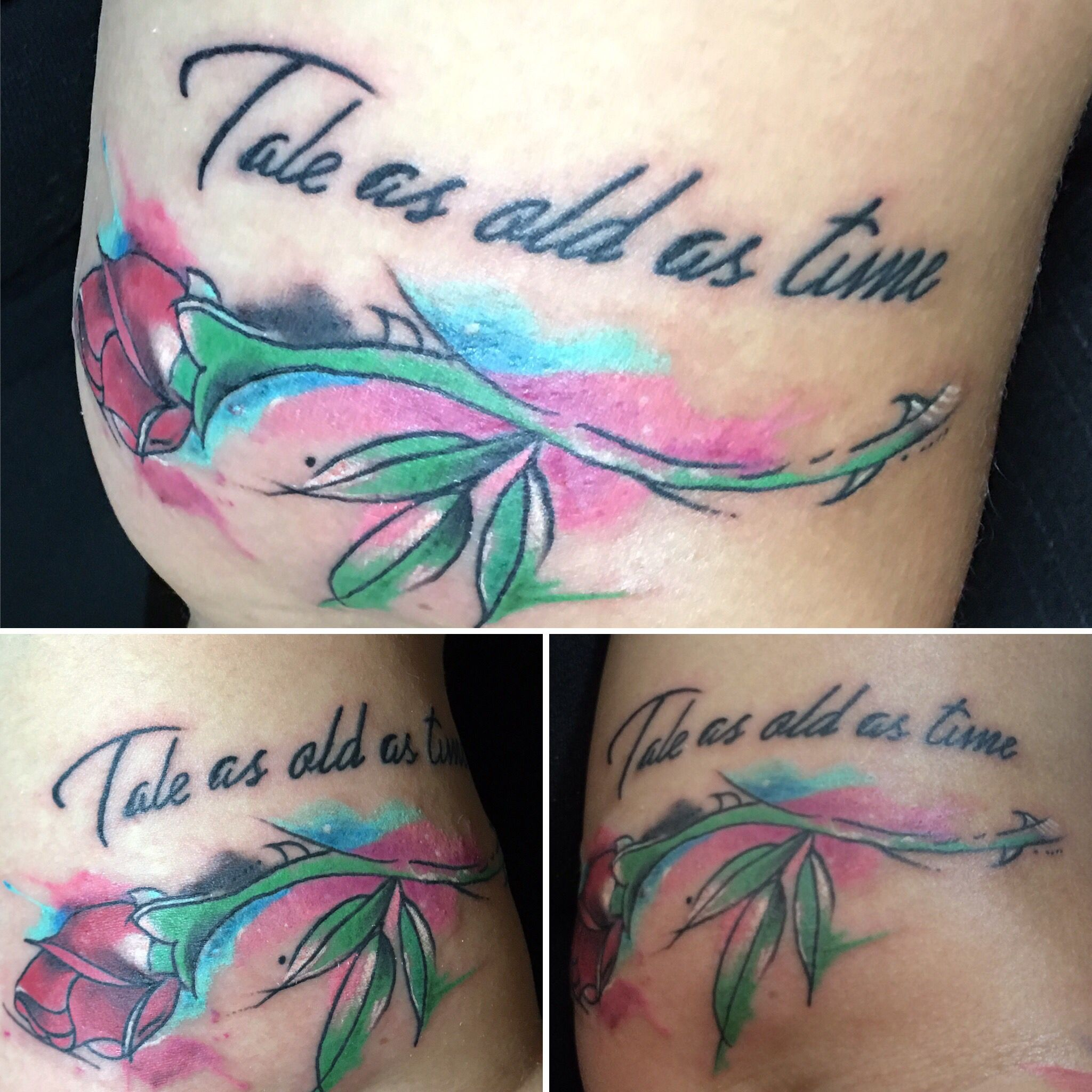 Red Rose Watercolor Tattoo And Tale As Old As Time Love The