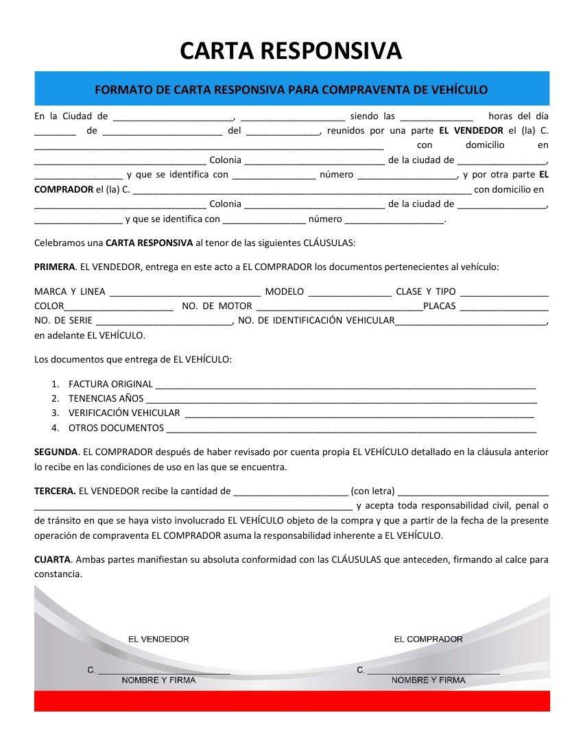 formato de carta responsiva de compraventa de vehiculos pdf
