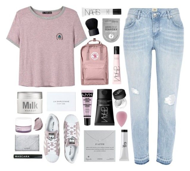 """""""T Shirt"""" by for-the-love-of-pink ❤ liked on Polyvore featuring River Island, MANGO, MILK MAKEUP, adidas, Sephora Collection, NYX, Fjällräven, Dogeared, e.l.f. and NARS Cosmetics"""