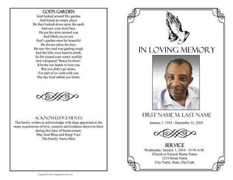 Obituary Card Template Free Funeral Program Templates Obituary Card