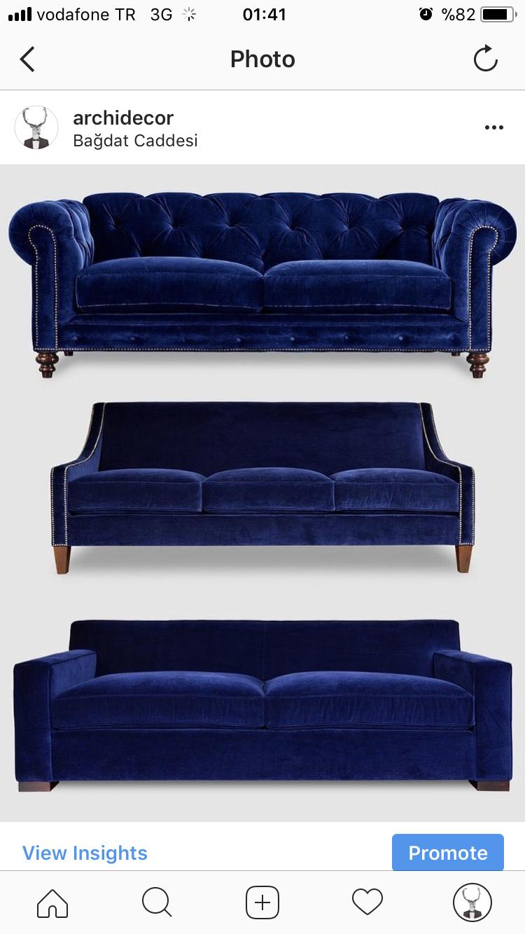 Lacivert Mavi Koltuk Tasarimi Uc Farkli Tarz Ile Biri Mutlaka Sizi Anlatiyor Chesterfield Dark Blue Sofa Design In 3 Different Kin Ev Icin Koltuklar Mobilya