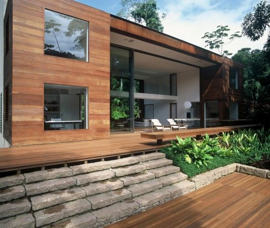 Inside Huge Houses the rear elevation is amazing! huge glass, wood, stone, white