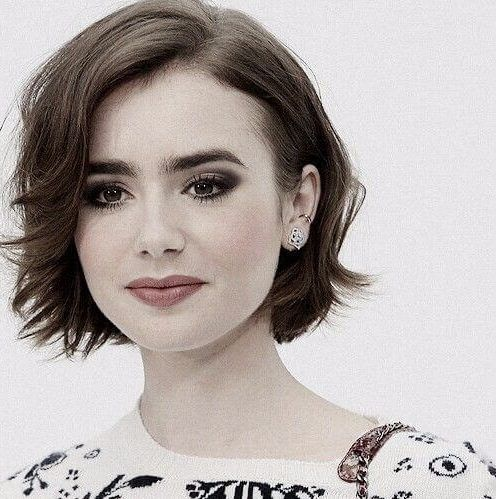 lily collins short hairstyles for thick hair  short