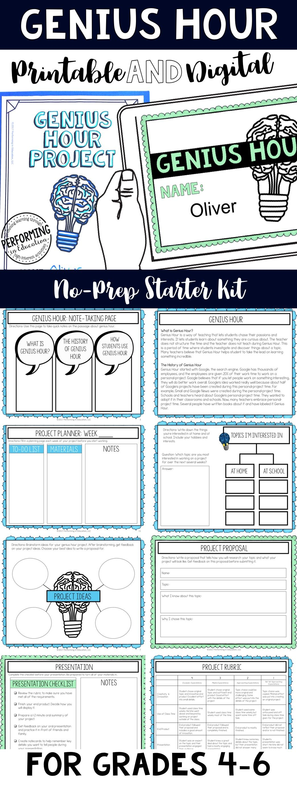 Genius Hour Printable And Digital For Classroom