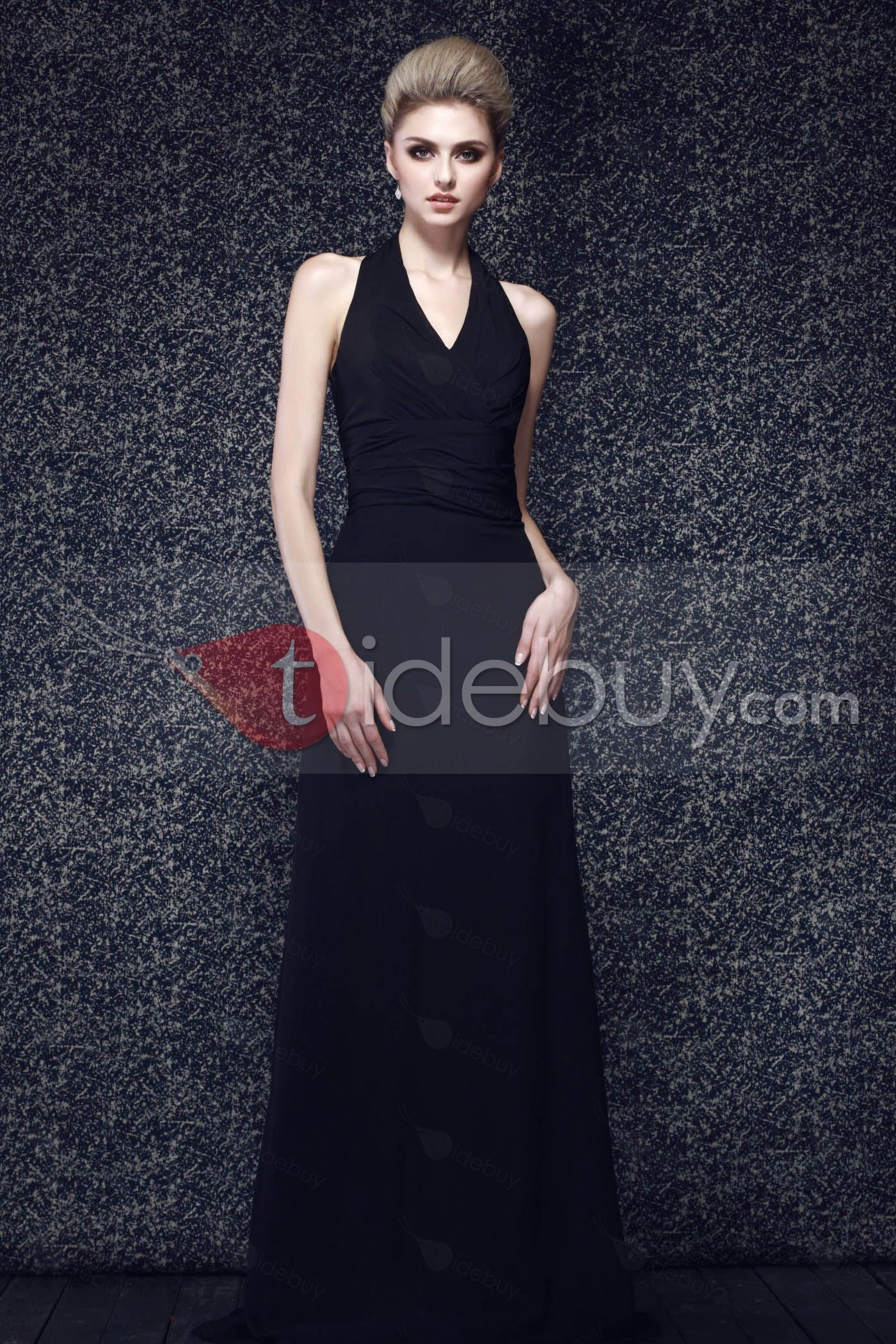 Vネックトランペットブラックシフォンプロム/イブニングドレス