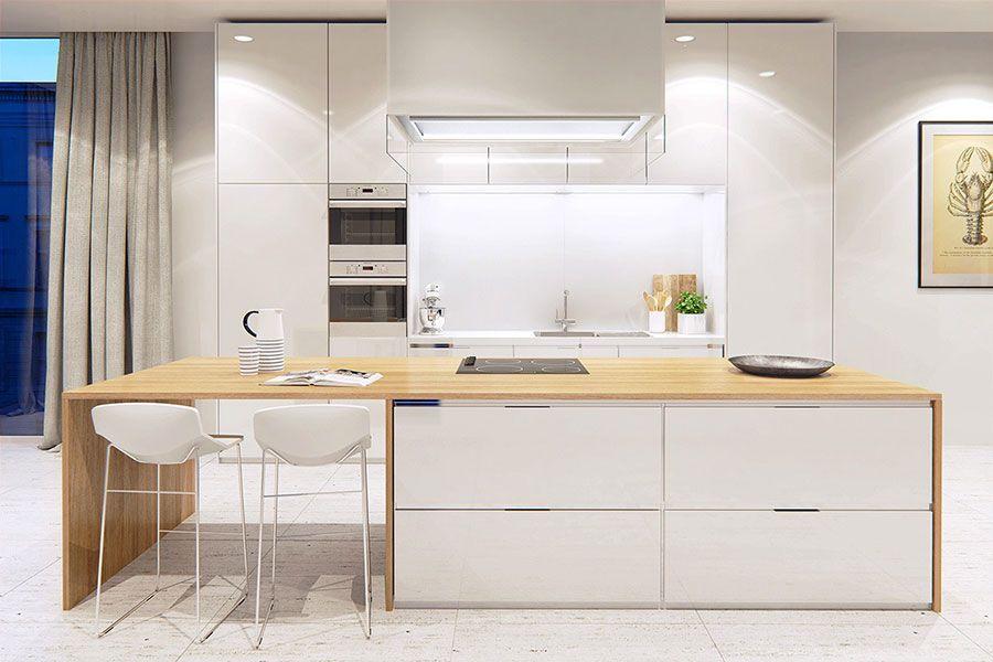Modello di cucina bianca e legno moderna n.18 | Postele | Cucine ...
