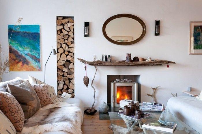 wohnideen wohnzimmer kamin treibholz wandregal ovaler wandspiegel - wohnideen wohnzimmer diy
