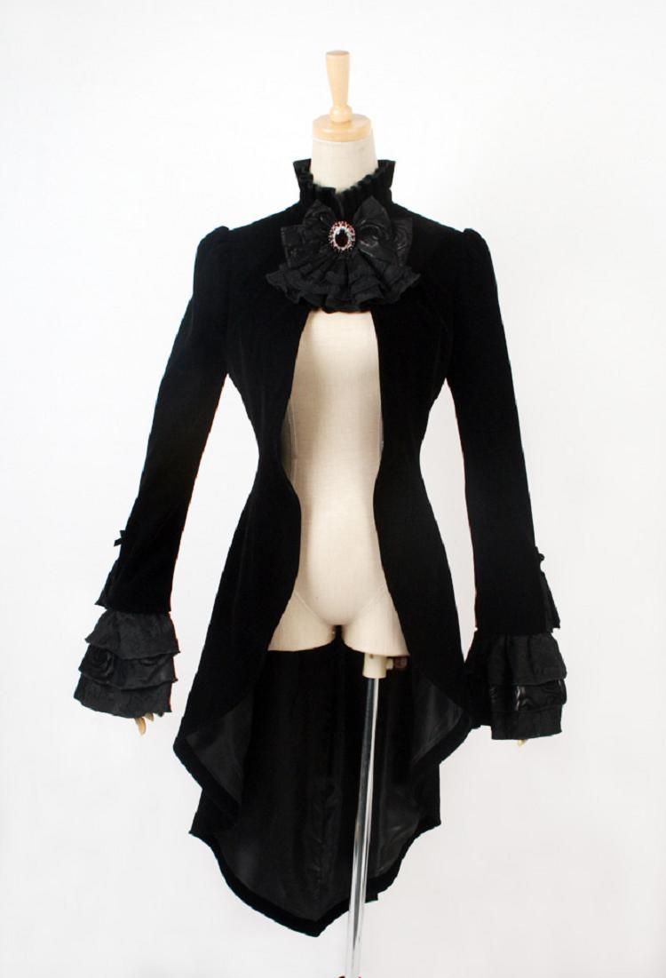 black fashion lace swallow long gothic trench coats with