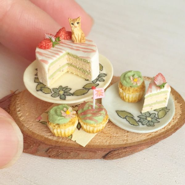 "Doll ☆ ☆ miniature tea tabby of Matcha layer cake ☆☆ / [Buyee] ""Buyee"" Japan Shopping Service 