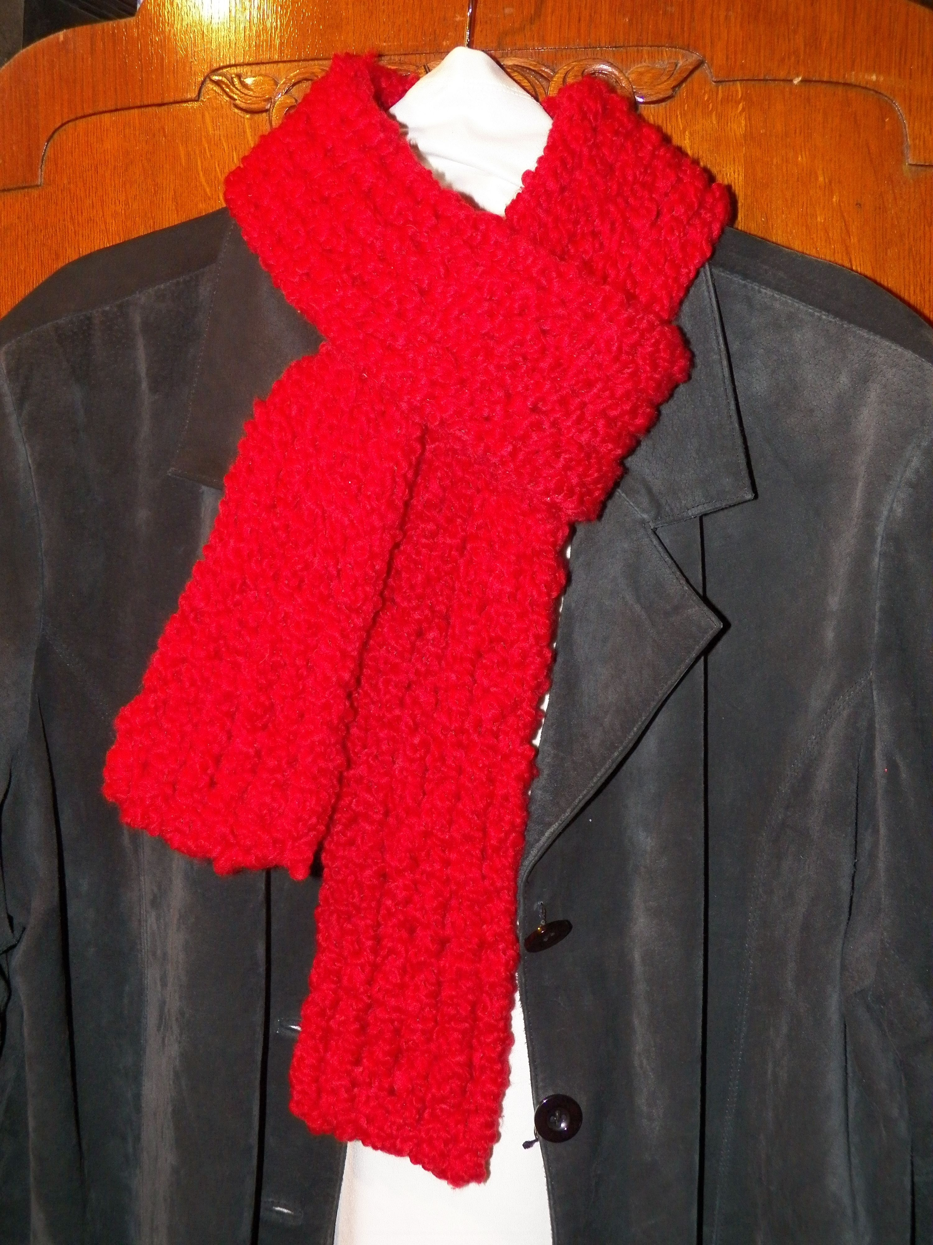 Bulky Red Scarf Used Yarn Bee Fleece Lite Yarn