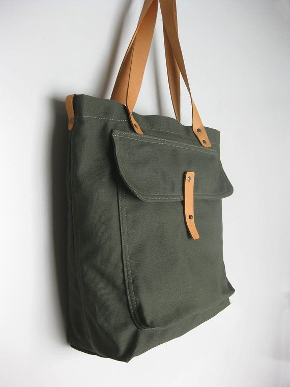 Army Green Canvas Tote Bag with Leather Straps by avivaschwarz 0a7788da43
