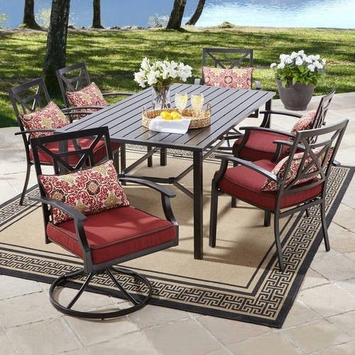 7 piece patio dining set outdoor furniture sturdy steel chairs table rh pinterest com sturdy porch furniture sturdy porch furniture