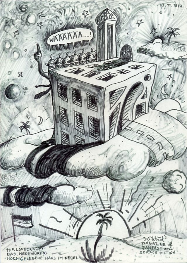 """H.P.Lovecraft: Das merkwürdige hochgelegene Haus im Nebel (H.P Lovecraft: The Strange High House in the Mist), 1987 by J.G.Wind - Illustration for Lovecrafts Story """"The Strange High House in the Mist"""" / The drawing shows J.G.Wind as a fan of """"The Magazine of Fantasy and Science Fiction""""."""