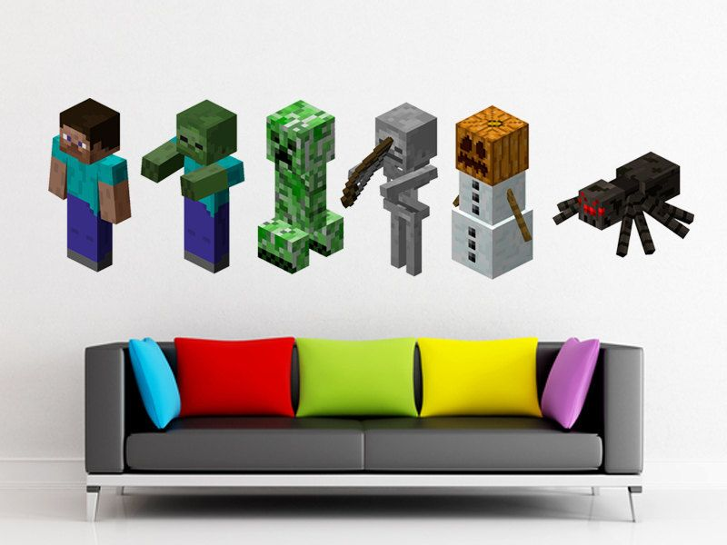 3 Feet Wide Minecraft Logo HUGE Peel And Stick REUSEABLE Wall Sticker Wall  Decal Wall Mural Part 56