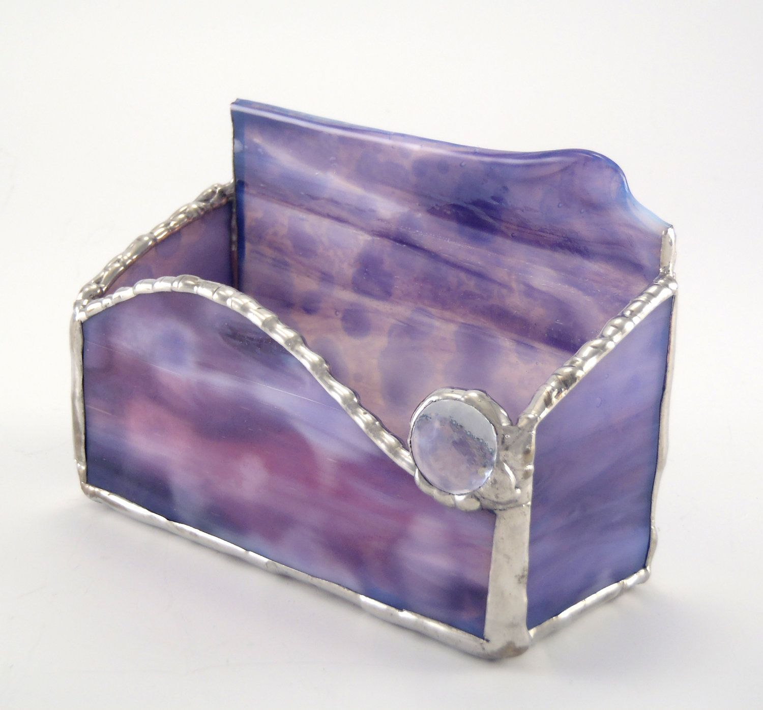 Business Card Holder Stained Glass Purple and Pink OOAK | Business ...