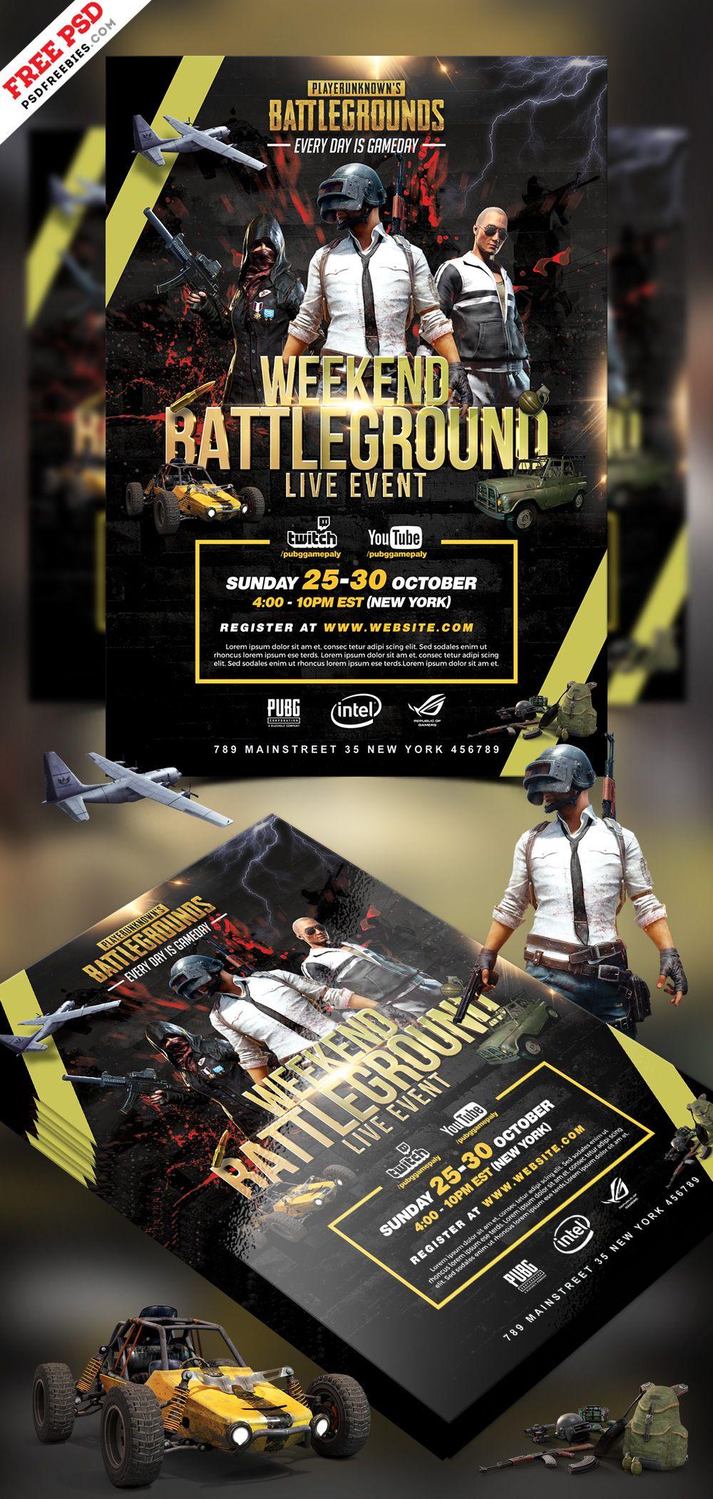 Pubg Tournament Flyer Psd Template Psd Templates Flyer Gaming Banner