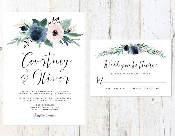 Dusty Blue And Blush Wedding Invitation Blush And Blue Floral