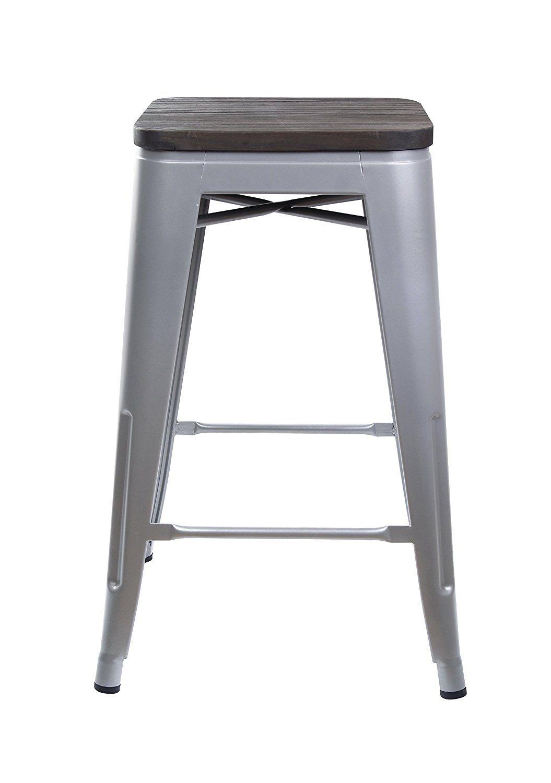 Pleasing Amazon Com Gia Gray 24 Metal Stool With Wooden Seat Set Of Inzonedesignstudio Interior Chair Design Inzonedesignstudiocom