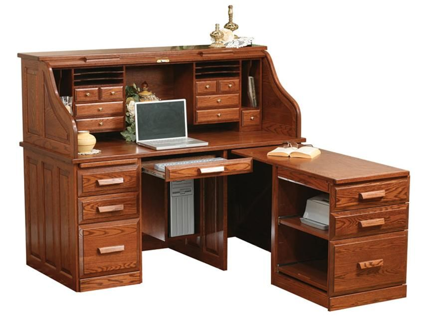 Amish Computer Roll Top Desk With Pull Out Return Roll Top Desk