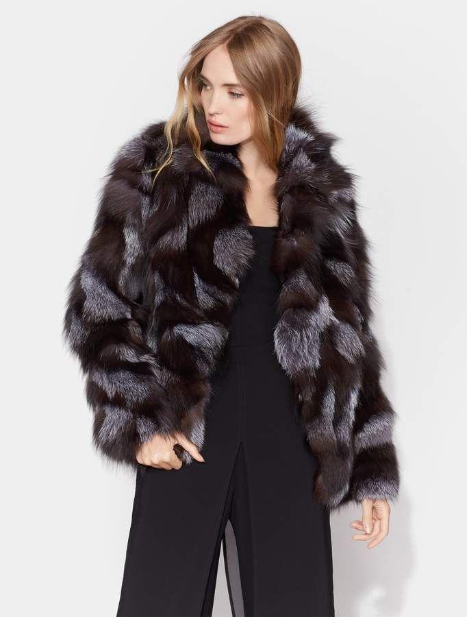 11a57606d Halston Patched Fur Jacket in 2019 | Black fox fur jackets | Fur ...