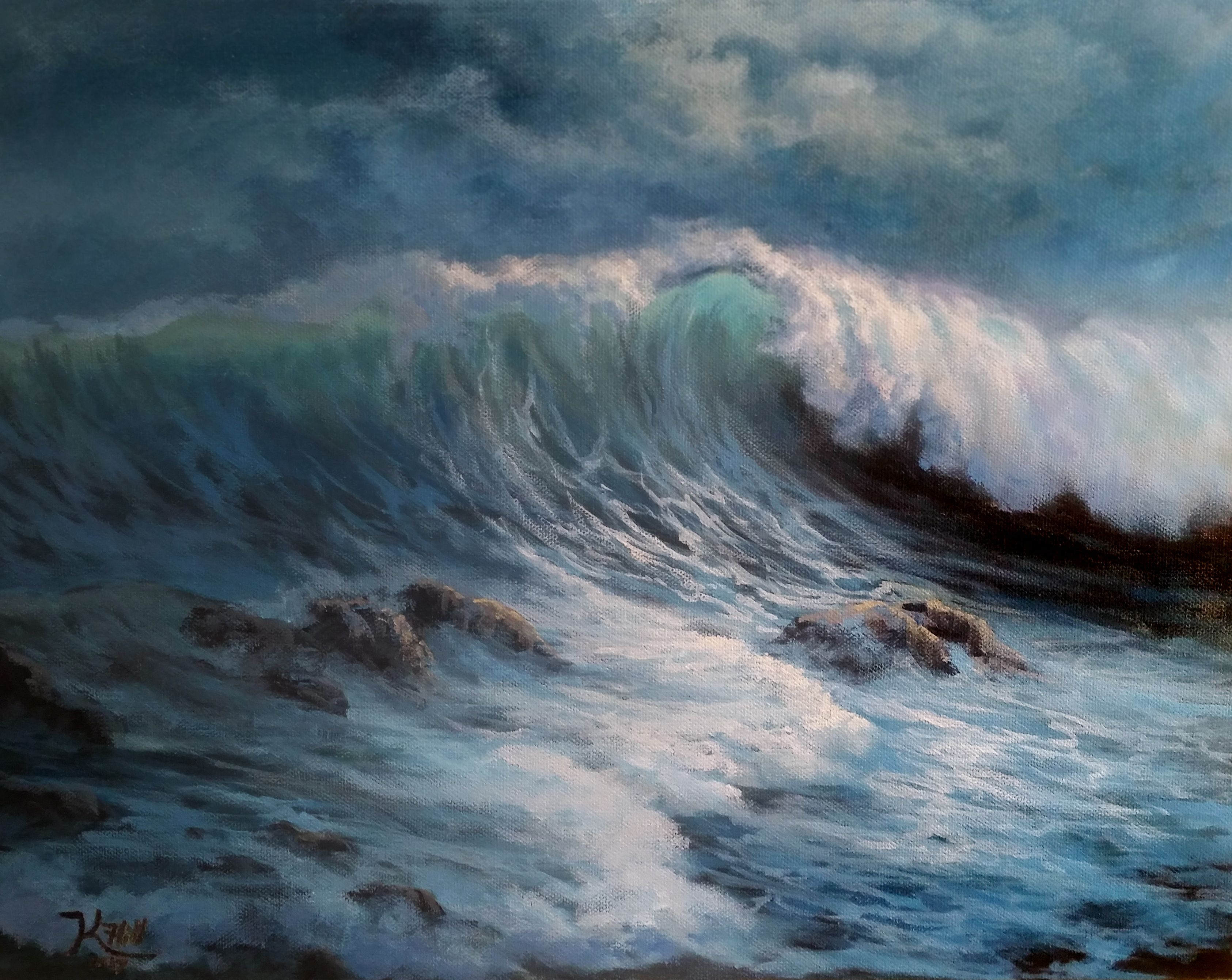 Windy Crashing Wave Acrylic Painting By Kevin Hill Watch Short Painting Lessons On Youtube Kevinoilpa Kevin Hill Paintings Landscape Art Landscape Paintings