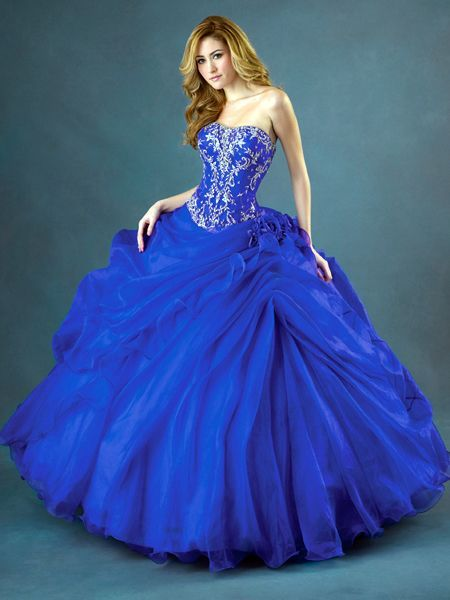 Saucy Sweetheart Beads Working Embroider Side-Draped Ball Gown ...