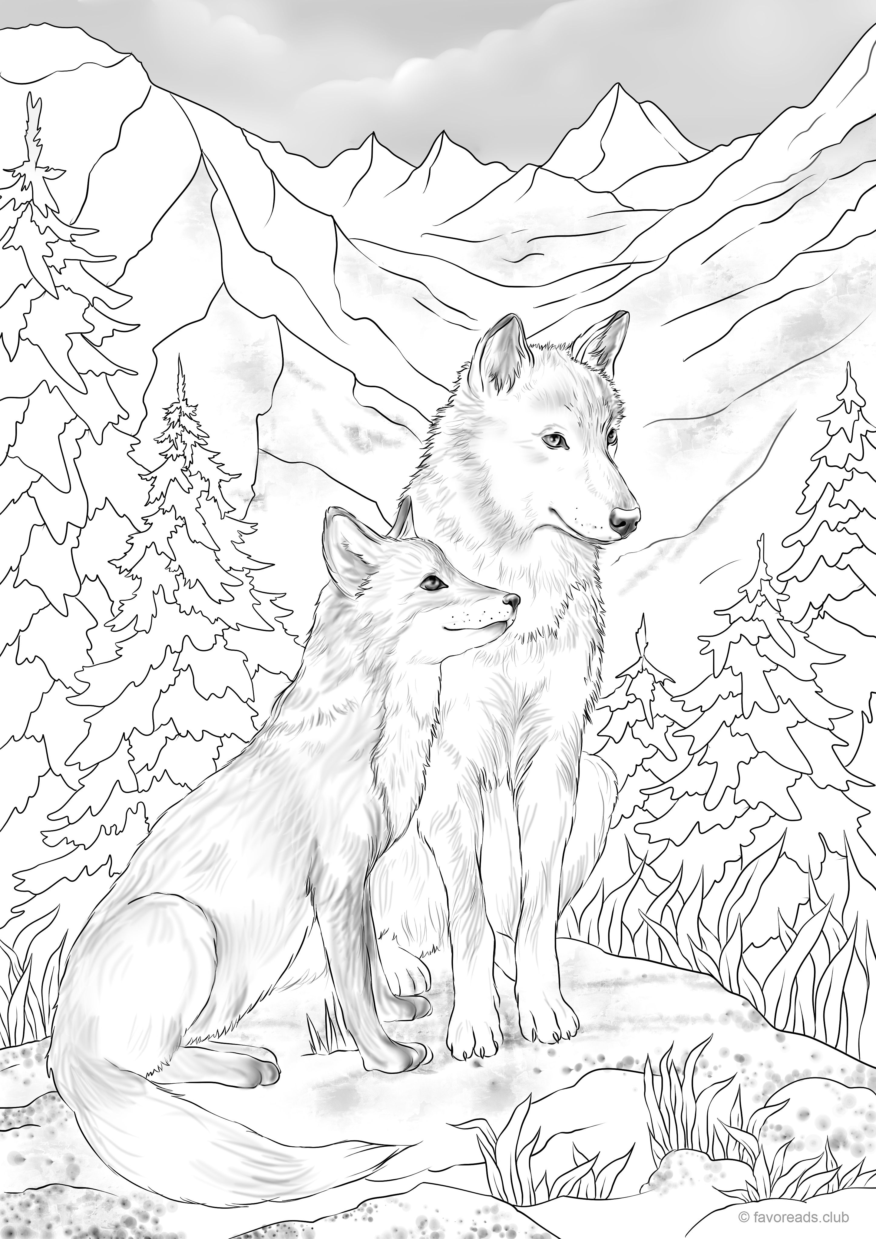 Dog Mountain freebie from favoreads | Fox coloring page ...